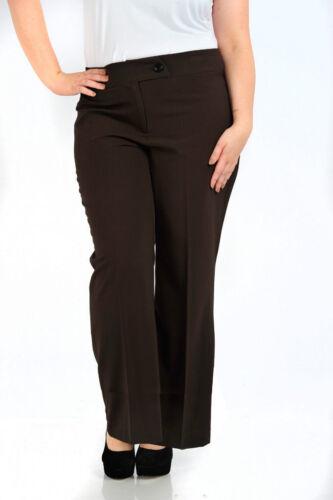 Womens Plus Size Smart Work Dress Trousers Black Mustard Chocolate Navy Ladies