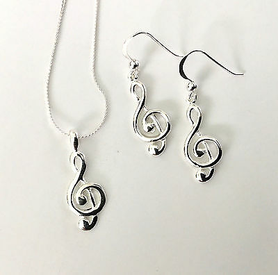 Sterling Silver Musical Treble Clef Pendant Necklace and Earring Gift Set