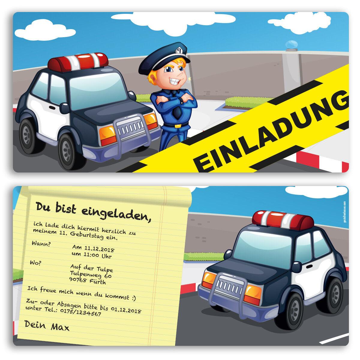 Einladung zum Geburtstag Polizei Karte Einladungskarten Kindergeburtstag