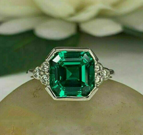 3Ct Ascher Cut Green Emerald Solitaire Engagement Ring 14k White Gold Finish
