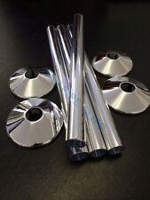 Q4 - 15mm Radiator Pipe Cover / Tube & Collar CHROME 200mm long - Hole Tidy