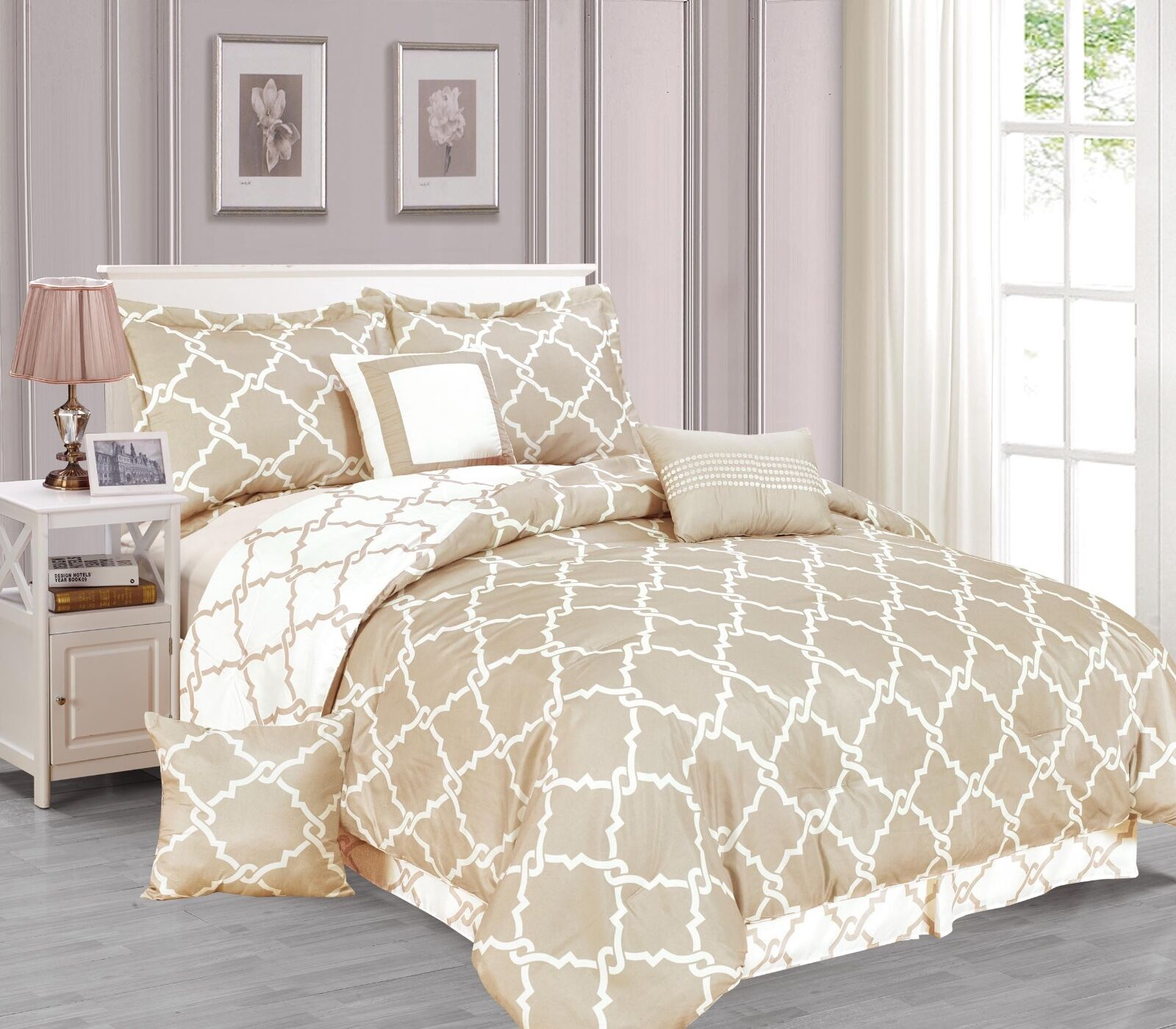 Galaxy 7-Piece Comforter Set Reversible Soft OverGrößed Bedding Weiß & Taupe