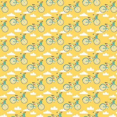 Fancy Free Bikes Yellow by Lori Whitlock for Riley Blake, 1/2 yard cotton fabric
