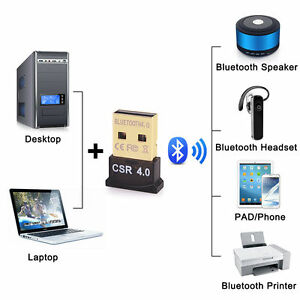 Bluetooth 4.0 USB 2.0 CSR4.0 Dongle Adapter For LAPTOP PC WIN XP VISTA 7/8 FT