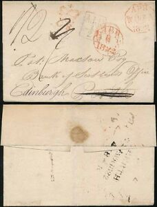 SCOTLAND 1822 CROWNED INSPECTORS MARK...PERTH FORWARDED to EDINBURGH