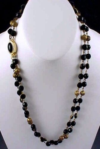 Prom Formal Vintage 1990s Monet Art Deco Style Necklace Faceted French Jet Glass Beads Accented Front Choker