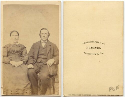 WELL DRESSED COUPLE BY JEANES, ALLENTOWN, PA, ANTIQUE CDV