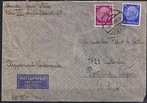 Deutsches reich luftbostbrief MIF MiNr 522 + 524 vienne-portland usa 12.7.1940-afficher le titre d`origine pS826wej-07145724-995635759