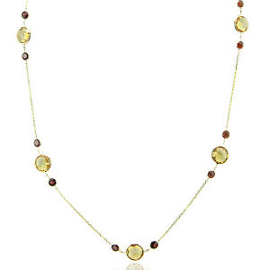 14K-Yellow-Gold-Necklace-With-Citrine-amp-Garnet-Gemtones-18-Inches