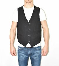 Vintage Black Leather Button Biker Gilet West Men's Waistcoat Size L