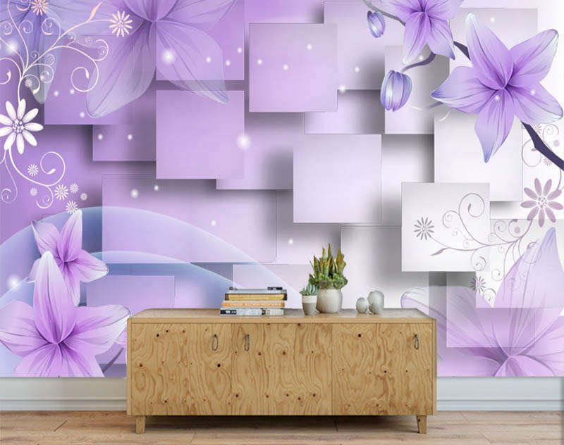 Vital Purple Flower 3D Full Wall Mural Photo Wallpaper Printing Home Kids Decor