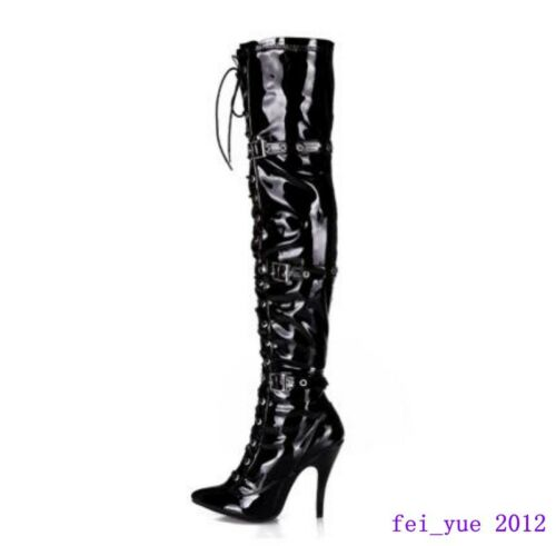 Hot Womens Stiletto Buckle Pointy Toe Lace up High Heels Zip Over The Knee Boots