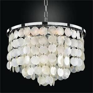 Details About Glow Lighting Bayside 6 Light Hanging Capiz Shell Chandelier 636cd15