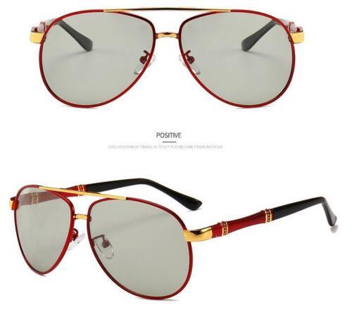 Men Metal Photochromic Polarized Sunglasses Transition Lens Driving Goggles New