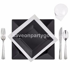 Image is loading 60-Full-Table-Setting-Elegant-Disposable-Square-Plates-  sc 1 st  eBay & 60 Full Table Setting Elegant Disposable Square Plates-Cups-Cutlery ...