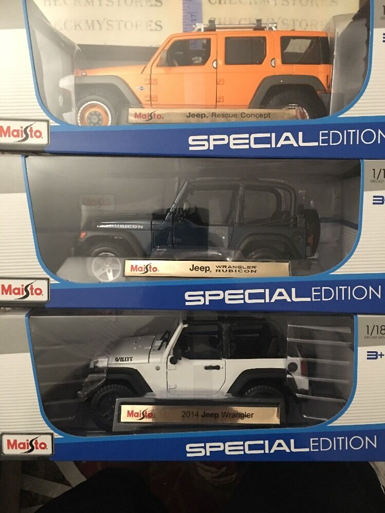 3x neue maisto 1,18 skala jeep wrangler rubicon rettungs - konzept, 2014 wrangler