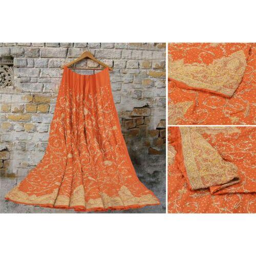 Sanskriti Vintage Rusty Orange Long Skirt Pure Sil