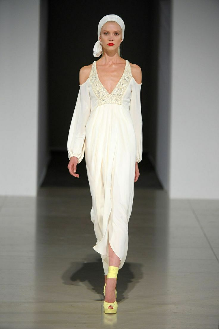 Temperley London Wedding Dress Deco Beaded Cold Shoulder Dress Ivory White 8