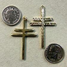 9ct gold new large plain cross of lorraine