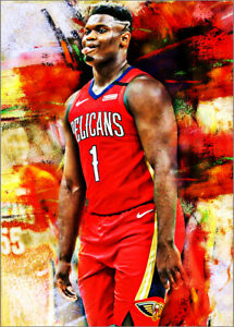 2021-Zion-Williamson-New-Orleans-Pelicans-1-25-Art-ACEO-Sketch-Print-Card-By-Q