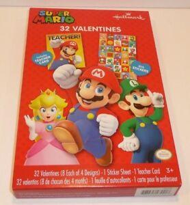 Nintendo-Children-s-32-Valentines-w-Stickers-SUPER-MARIO-Valentine-039-s-Day-Cards