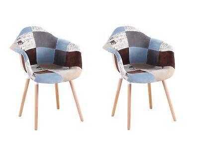 Set di 2 sedie poltrona con gambe di legno sedie da pranzo Patchwork GrigioBlu | eBay