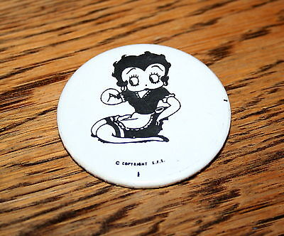 Rare Vintage KFS Betty Boop Kneeling Comic Collectible Button Pin 1970s New NOS