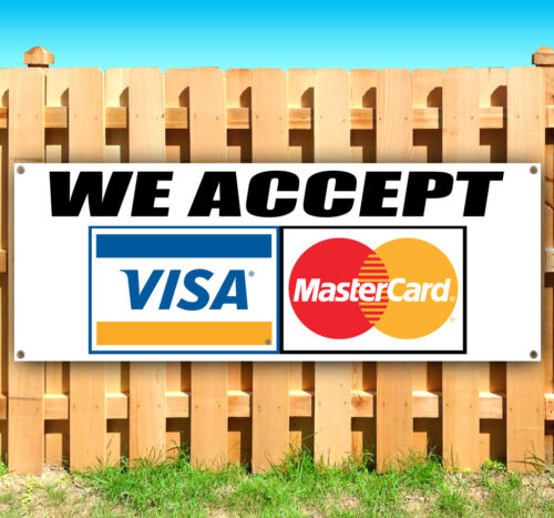 WE ACCEPT VISA Advertising Vinyl Banner Flag Sign Many Sizes Available