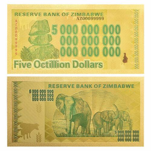 Zimbabwe 5 Octillion Gold Foil Banknote Trillion Series