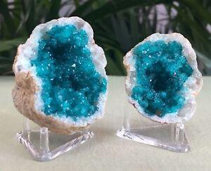 Blue-Geode-Pair-W-Stands-Crystal-Quartz-Gemstone-Specimen-Dyed-Morocco-Geode