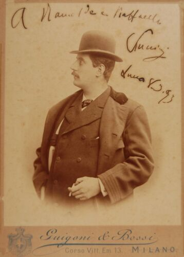 Opera Vintage Classical Music Poster Giacomo Puccini Portrait Photograph 1893