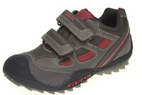 Geox Brown/red Secure Strap Leather Sneakers/shoes Little Boys Size 10 1/2