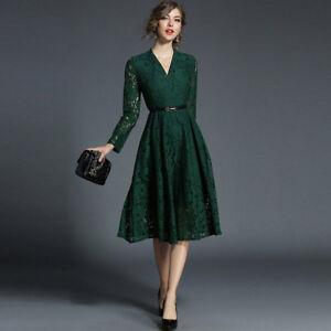 super popular 696d4 10763 Dettagli su Elegante vestito abito lungo verde maniche scampanato slim  morbido 4222
