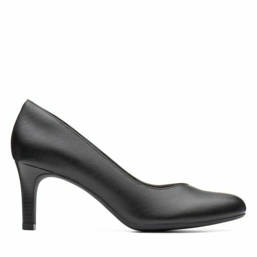 NEW WOMENS CLARKS DANCER NOLIN BLACK EMBOSSED LEATHER ROUND TOE PUMP SHOES
