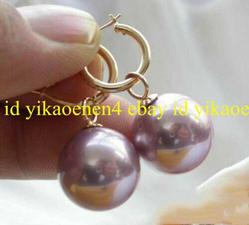 Rare Huge 14mm Purple South Sea Shell Pearl Round Gemstone Dangle Earrings AAA+