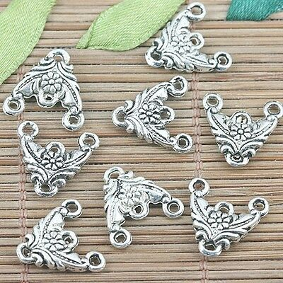 20//100 Tibetan Silver Cross Flower Pendants Connectors DIY 27.5x42mm 35063