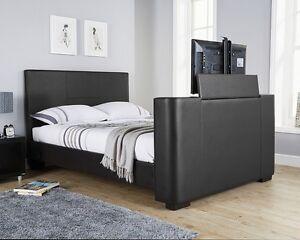 Luxe-lit-tv-en-noir-marron-ou-blanc-avec-construit-dans-tv-stand