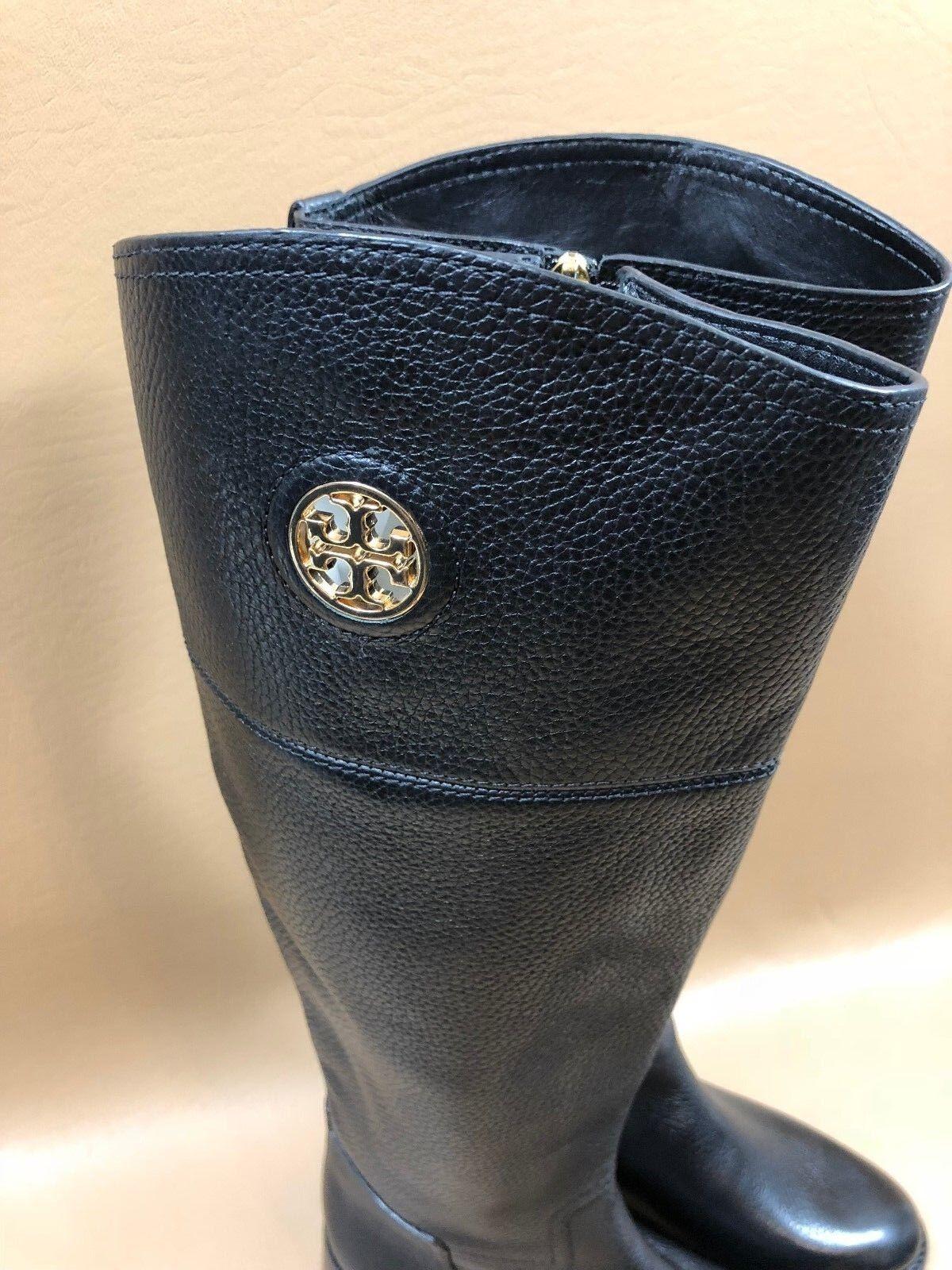 88 Tory Tory Tory Burch Black Logo Plate Riding Boots Size 5.5 M 180bb4