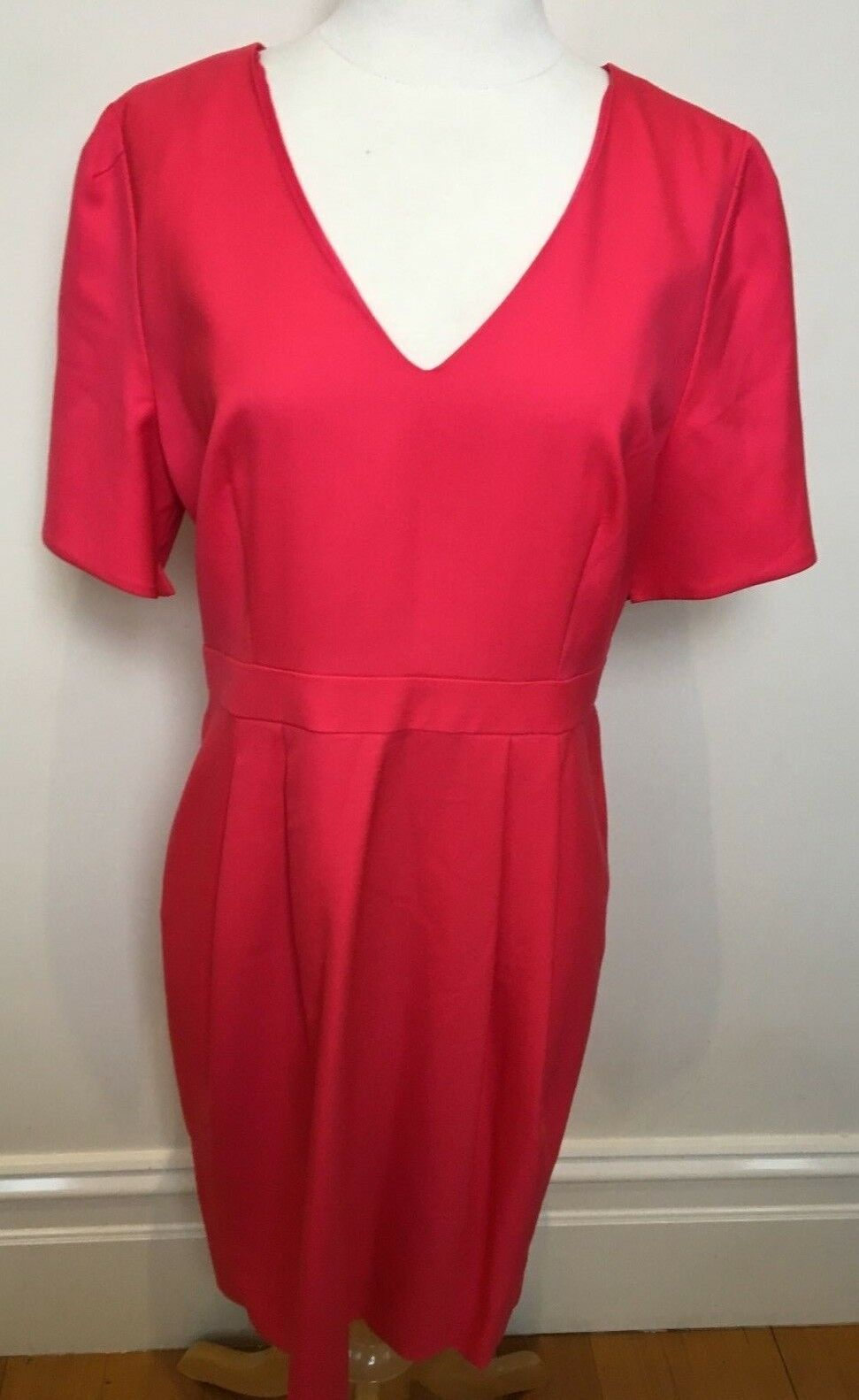 J CREW Candy Pink 100% Fine Wool Short Sleeve Fully Lined Fitted Waist Dress 10