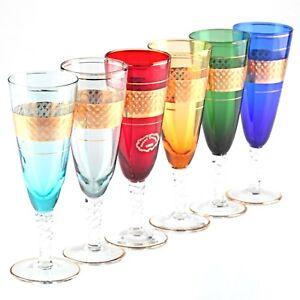 6-bunte-Sektglaeser-Farbglas-Decor-Cristal-Giorgi-Gold-Rand-Dekor-tuerkis-rot-gruen