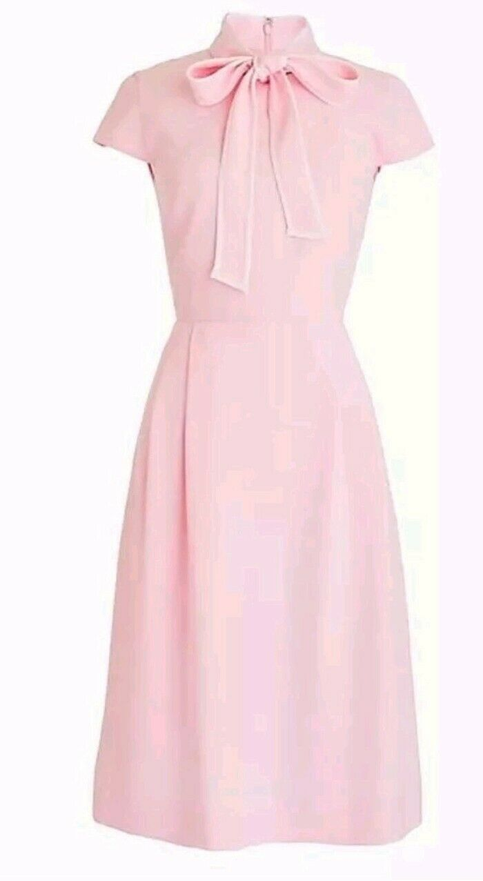 NWT J Crew Tie-neck Dress in 365 Crepe Rosa Sz 14 J2557 BLOGGER FAVE J.Crew