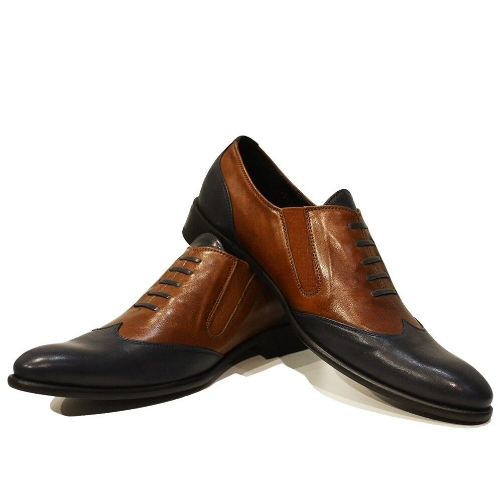 Modello Shoes Massimo - Handmade Colorful Italian Leather Oxford Dress Shoes Modello Navy Blue 8573cd