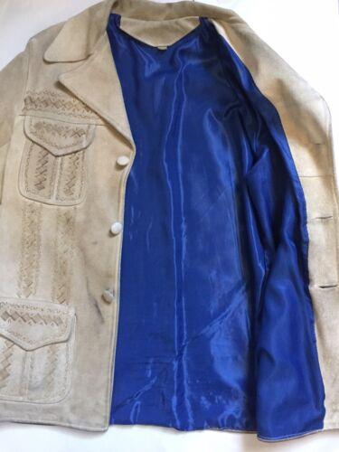 Vtg 40s Fire Embellished Western Suede Leather Ran