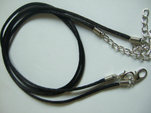 "50pcs 2mm Satin Silk Necklace Cord 30/"" Adjustable Length Lead /& Nickel free"
