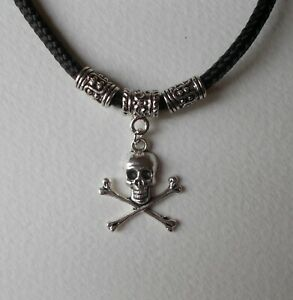 "20/"" 24/"" Inch Chain Necklace /& Skull /& Crossbones Pendant Goth Emo Gothic Biker"