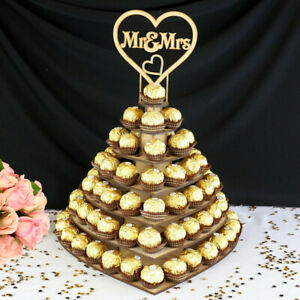 Mr-amp-mrs-en-Bois-Chocolat-C-ur-Dessert-Presentoir-Support-Mariage-Fete-Decor-A