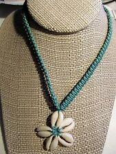 "Sea Shell Necklace Jewelry Cowry Cowrie Plumeria Flower Pendant 17-20"" Hawaiian"