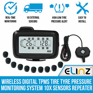 Wireless Digital TPMS Tire Tyre Pressure Monitoring System 10x Sensors Repeater