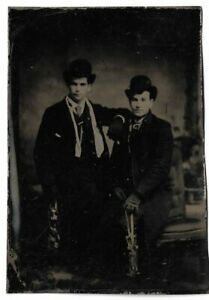 Tintype-Photograph-Two-Men-Wearing-Coats-and-Hats-w-Ice-Skates-Gay-Interest