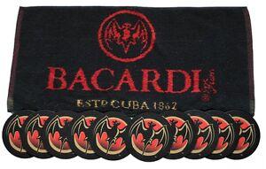 BACARDI-CUBA-Pub-Bar-Towel-amp-10-matching-Beer-Mat-Coasters